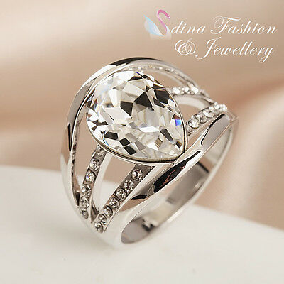 18K White Gold Filled Made With Swarovski Crystal Hollow-out Shiny Teardrop Ring