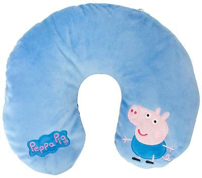 George Pig Travel Pillow Reversible Blue Plush Neck Cushion Head Support Toy