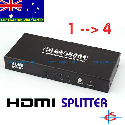 HDMI Splitter 1 in 4 out Amplifier Duplicator 1x4 Way 3D Compatible 1080P
