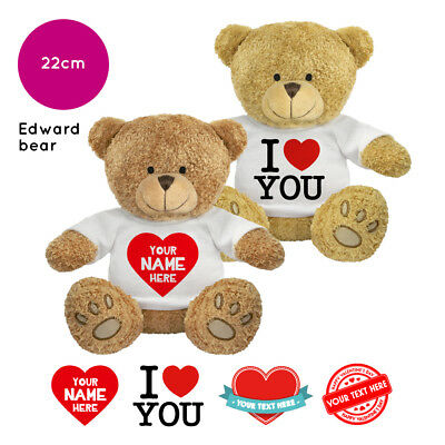 Personalised Name Valentines Day Edward Soft Toy Teddy Bear Gifts For Him / Her