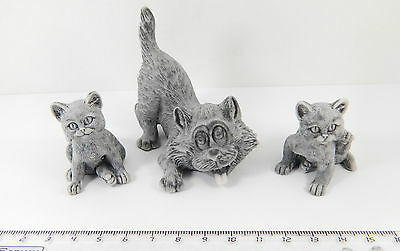 Set of 3 Marble stone Cat figurine from Russia