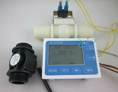 "G1"" Water Flow Control LCD Display+Flow Sensor Meter+Solenoid Valve Gauge New"