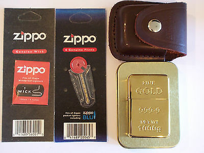 Tristar Gold Bar Design Petrol Lighter & Leather Case Plus Zippo Wick And Flints