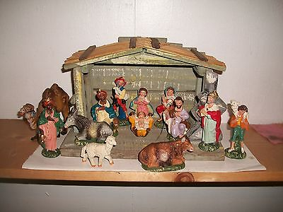 """VINTAGE 1950's ANRI? NATIVITY 13 PIECE SET PLUS STABLE 4"""" Made In Italy"""
