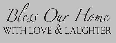 BLESS OUR HOME WITH LOVE Vinyl Word Quote Wall Decal Family God Home