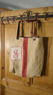 Antique European Grain Sack,Tote Bag, Book Bag,Ipad Bag,Purse.#6492