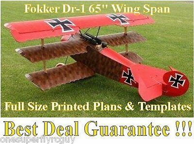 """Fokker DR1 65"""" WS Giant Scale RC Airplane Full Size PRINTED Plans & Templates"""