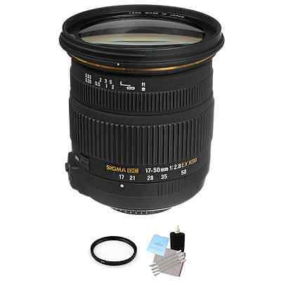 Sigma 17-50mm F/2.8 DC OS HSM Lens For Nikon + UV Filter & Cleaning Kit
