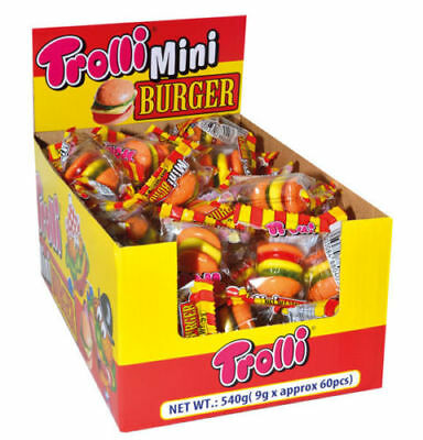 Bulk Lot 60 x Trolli Mini Burger Gummy Candy Buffet Lollies Sweets Party Favors