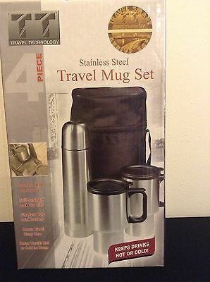 Travel Technology 4 Piece Stainless Steel Travel Mug Set Case Hot Cold Drinks