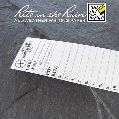 10 x *NEW* GEOLoggers SMALL 3.5cm Geocaching Log Sheet Rite in the Rain White