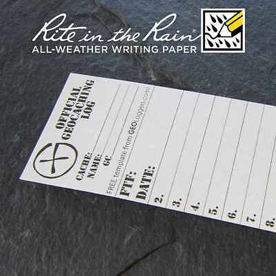 5 x *NEW* GEOLoggers SMALL 4cm Geocaching Log Sheet Rite in the Rain White RITR!