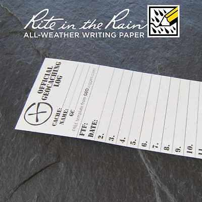 10 x *NEW* GEOLoggers SMALL 4.5cm Geocaching Log Sheet Rite in the Rain White