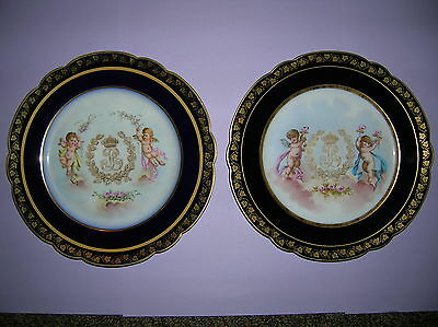 Two  French Sevres Porcelain Napoleonic cabinet plates 19th Century
