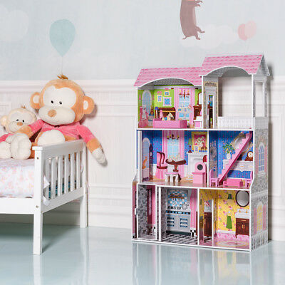 Kids Girls Dolls House Doll Cottage Furniture Fits Children Dollhouse Toys Town