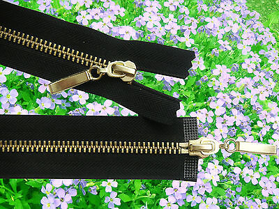 BLACK ZIP METAL/BRASS TEETH OPEN ENDED & TWO WAY No 5 Different Sizes:110-42 cm