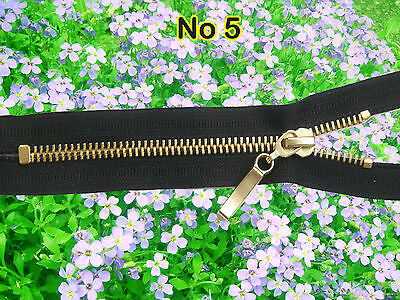*BLACK ZIP/ METALGOLD TEETH CLOSED ENDED. No 5 Different Sizes.(80 cm - 15 cm)