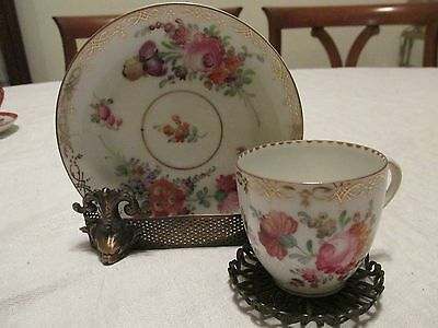 Vintage DRESDEN DEMITASSE CUP & SAUCER Multi Floral Bouquets Gold Scroll Tracery
