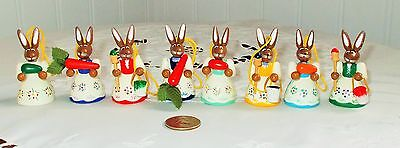 Vtg Erzgebirge 6 Girl Bunnies Ornaments for Easter Tree from Germany