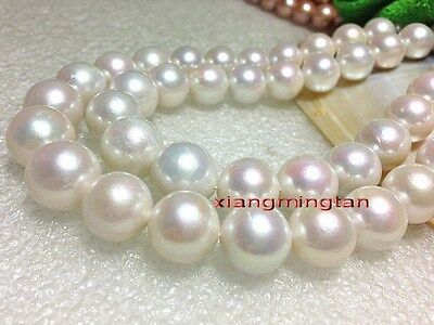 """LONG Luxurious ROUND AAAAA 35""""13-15mm real south sea WHITE pearl necklace 14K"""