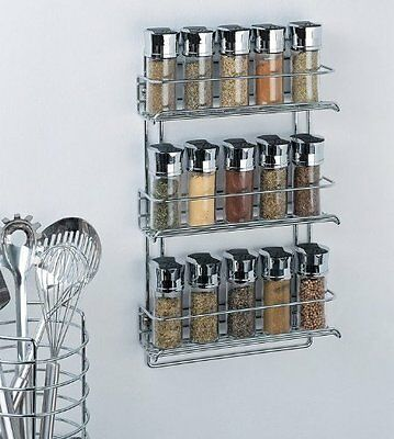 Organize It All 3-Tier Wall-Mounted Spice Rack Chrome Shelf Silver Kitchen Free