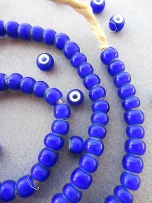 African Blue 'White Heart' Beads  [61377]