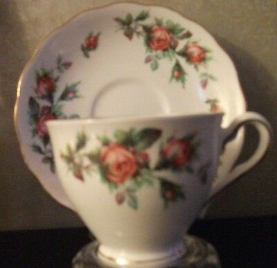Tea cup w/matching saucer Cololough, pink roses,