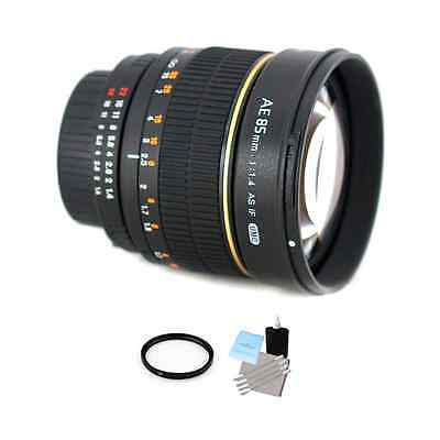 Rokinon 85mm f/1.4 Lens for Nikon w/Focus Confirm Chip + UV & Cleaning Kit