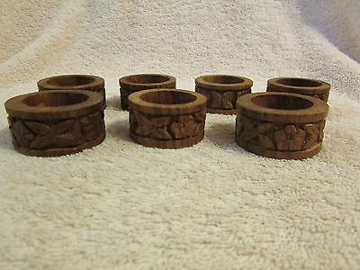 Set of 6 BEAUTIFUL Vintage Rustic Wooden Wood Hand Carved Napkin Ring Holders
