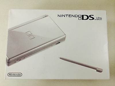 Nintendo DS Lite Gloss Silver Handheld System + 2 FREE games