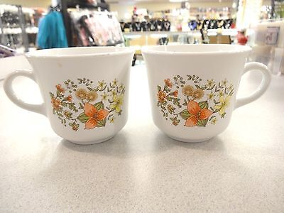 """Vintage CORELLE """"INDIAN SUMMER"""" CORNING MUGS Coffee TEA Cups SET of 2 EXCELLENT"""