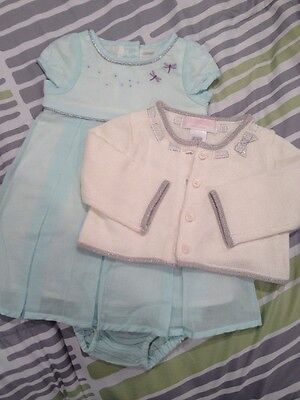 Janie and Jack Boutique Baby Girl's Spring Dress & Cardigan Size 0-3 Months NWOT