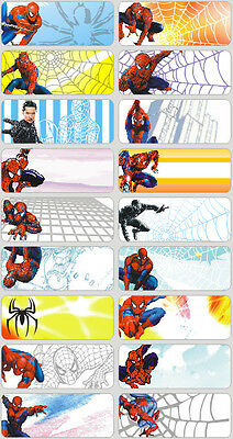 18 Spiderman Personalised name Label Sticker School book vinyl 4.6x1.8cm