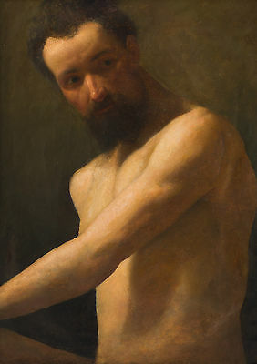 19th Century Study of a Male Torso Classical Antique Oil Painting William Etty