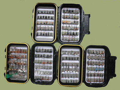 200 Trout Flies, Suitable for River fly fishing, mix of types & sizes, 3 Box Set