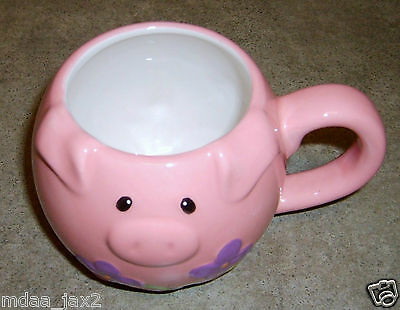 Pier 1 Imports Piglet Pink Coffee Mug Cup Floral Purple Green Design