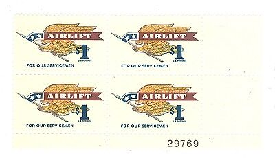 US 1341 Airlift $1.00 1 plate blk of 4 stamps MNH issued 1968 #29769