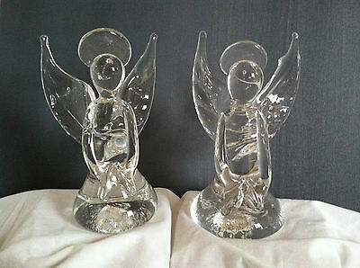 New Price! Glass Angels - Set of 2, Bermuda Art Glass by Gayle Weyland 6 1/2""