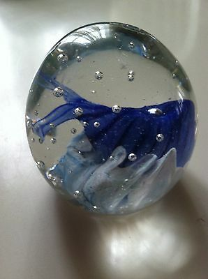 "Large 4"" Sea Life Paperweight - Clear, Blues, & White Art Glass - Gayle Weyland!"