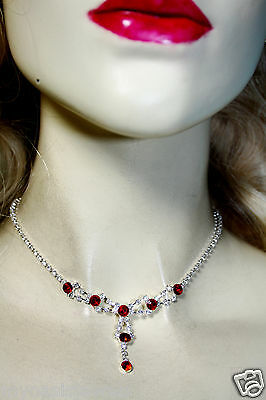 Rhinestone Austrian Crystal Necklace Choker Earrings Set Red Prom Pageant Bridal