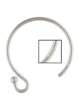 925 Sterling Silver Circle Ballend Ear Wires 30 pcs #5203-3