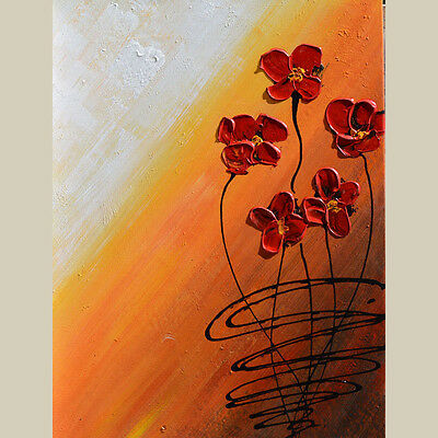 ORIGINAL Oil Painting  Flowers Abstract Modern Palette Knife Textured Red Orange