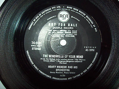 HENRY MANCINI Sample record THE WINDMILLS OF YOUR MIND  45RPM VINYL RECORD