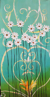 ORIGINAL OIL PAINTING ART COLORFUL TEXTURE ABSTRACT MODERN FLOWER DAISY TURQUOIS