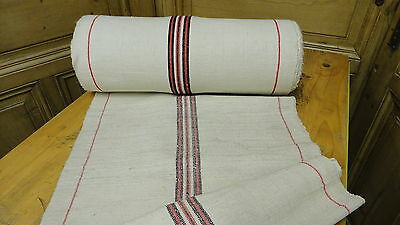Homespun Linen Hemp/Flax Yardage 24 Yards x 21'' Black & Red Stripes #6418