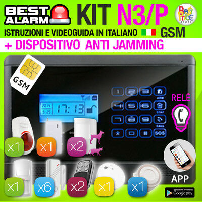 ANTIFURTO KIT N3P ALLARME CASA 433 Mhz COMBINATORE GSM PIR WIRELESS ANTIJAMMING