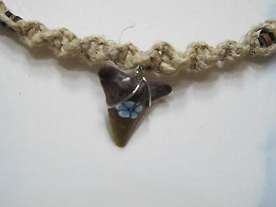Summer Beach surfer jewelry Hemp faux Shark tooth Adjustable Choker/Necklace BRN