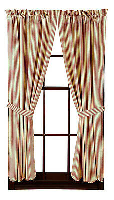 """New Primitive Country Barn Red Striped TICKING CURTAIN PANELS Drapes 84"""""""