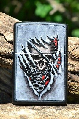 Zippo Lighter - Skull Gears - Steampunk - Matte Black - Model # 28882