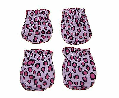 4 Pairs Newborn Baby/infant Anti-scratch Cotton Mittens Gloves---Leopard